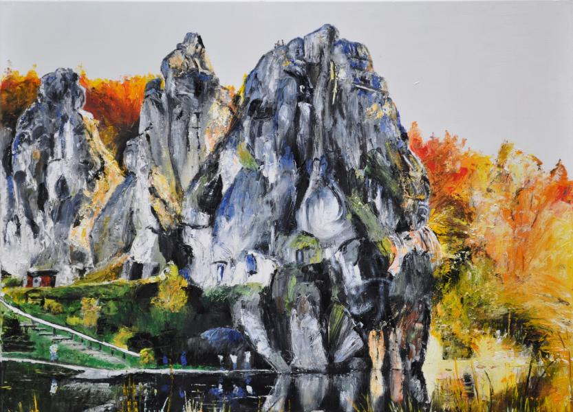 Externsteine im Herbst, Gemälde
